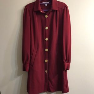 DVF luxury long shirt trench coat in wine red